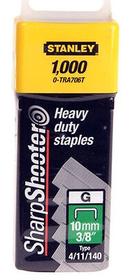 "10mm (3/8"") STANLEY HEAVY DUTY STAPLES 0-TRA706T (TYPE 4/11/140) - Pack of 1000."