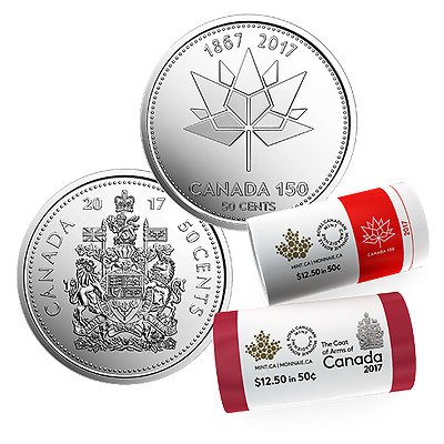 Set of 2017 Canada 150th Anniversary Half Dollar Coins (Mint UNC Fifty Cent)