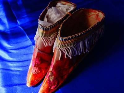 A Beautiful Pair Antique Embroidered Chinese Lotus Shoes ~ Bound Feet ~
