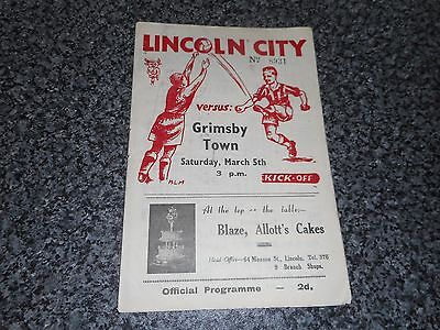 LINCOLN CITY  v  GRIMSBY TOWN    1948/9  ~ MARCH 5th  LINCS ' DERBY '  FREE POST