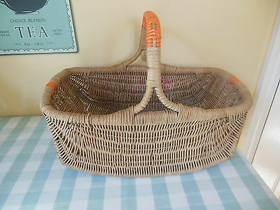 Vintage CURVED WICKER SHOPPING PICNIC BASKET with ORANGE PLASTIC TRIM