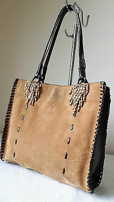 Vtage festive Russell & Bromley Brown tan leather tote top handle bucket bag VGC