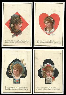 G38 - Heads In Playing Card Suit Symbols - Set Of Four Victorian Valentines