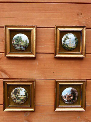 Four Lovely Vintage Hand Made Staffordshire Ceramic Miniature Framed Plaques.