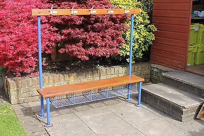 Vintage shoes bench/Vintage gym bench/Vintage school bench/industrial with hooks