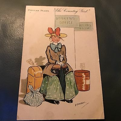 The Country Girl Vintage H Cowham Postcard
