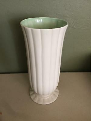 "Vintage Red Wing Art Pottery 12"" Ribbed Ivory Vase #1529 - Green Interior"