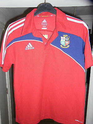 British & Irish Lions POLO Rugby Shirt - 2009 - SMALL Adult - Adidas- RED Shirt