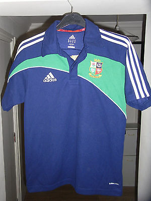 British & Irish Lions POLO Rugby Shirt - 2009 - SMALL Adult - Adidas- BLUE Shirt