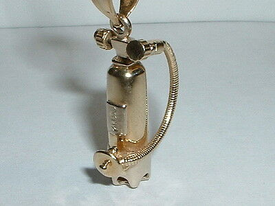 14K Two Tone Gold Moveable 3D Scuba Tank Pendant Charm