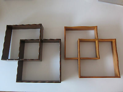 Mid Century Modern Retro Timber Shadow Boxes x 2 Wall Shelves Nick Nacks