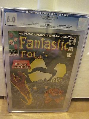 Fantastic Four #52 CGC 6.0 1st Black Panther (Jul 1966, Marvel) white pages