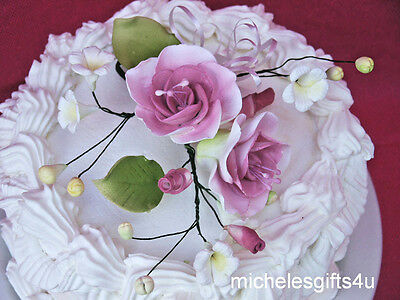 Gum Paste Sugar Mauve/Pink White Rose Stephanotis Sugar Cake Flowers & Leaves