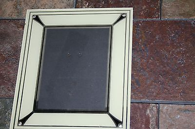 Art Deco - 40''s - Reverse Painted Picture Frame Cream/black/silver