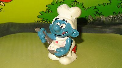 Smurfs Greedy Baker Eating Cake Smurf Rare Vintage Display Toy Figure