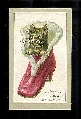 Cat Peeks Out Of Lady's Red Fur Lined Boot-Victorian Embossed Trade Card-Shoes