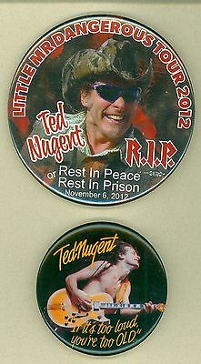 2 Vintage 1980s-2012 Ted Nugent Rock & Roll Music Tour LP Promo Pinback Buttons