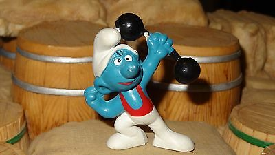 Smurfs Barbell Smurf (Red Shirt) Gymnast Rare Vintage Display Toy Figurine