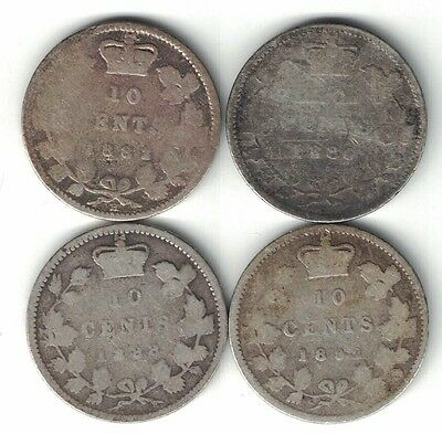 4 X Canada Ten Cents Dimes Victoria Sterling Silver Coins 1882H 1886 1888 1892