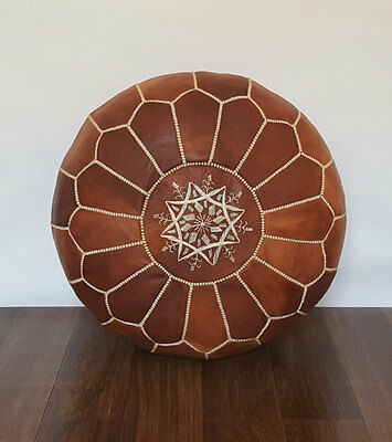 Stunning Moroccan Leather Ottoman Pouffe Pouf Footstool In Mid Tan