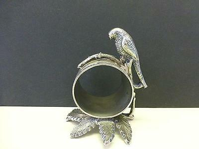 LG Antique FIGURAL PARROT BIRD Silverplate Napkin Ring Toronto Silver HARRY