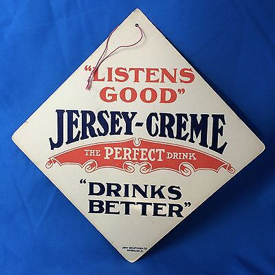 Early original Antique JERSEY CREME SODA Light Fan PULL Advertising Sign