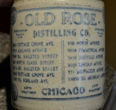 Vintage Advertising Jug Stoneware *old Rose* Distilling Co. Chicago Illinois