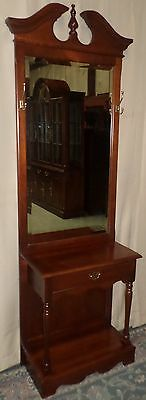 BROYHILL CHERRY HALLTREE Chippendale Style Drawer Beveled Glass Mirror VINTAGE