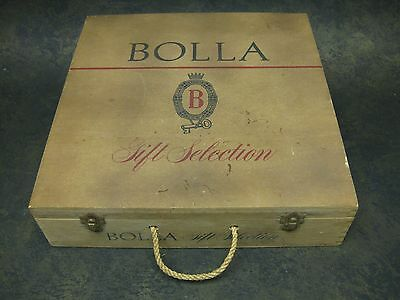 Vintage Bolla Wine Wood Box Gift Box Rope Handle