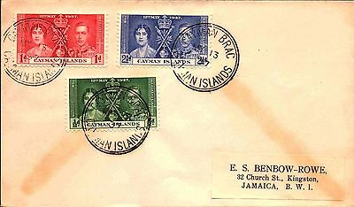 1937 Cayman Islands 1st Day Cover - Coronation issues  stk#349
