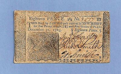 1763 18 Pence New Jersey Colonial Currency Very Fine Condition Nice Early Note