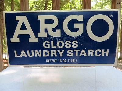 Vintage Argo Gloss Laundry Starch Full Unopened 16 Oz / 1 Lb Blue Cardboard Box