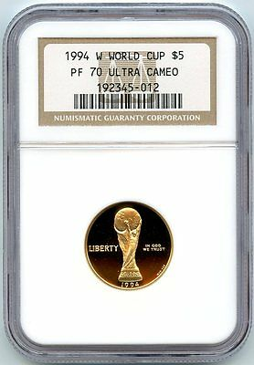 1994 W World Cup $5 Gold Ngc Pf70 Ucam*nearly 1/4 Oz .999 Fine Gold*beautiful*