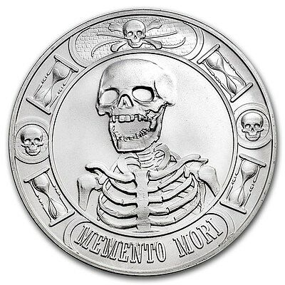 1 Oz Silver Coin Memento Mori Skull Last Laugh Debt And Death Anonymous Mint