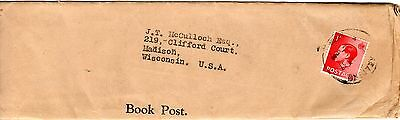 Scarce 1937 1p. Book Rate Use of Edw. VIII Single to U.S.