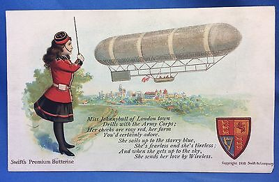 1910 Antique England AIRSHIP Dirigible SWIFT's Butterine Advertising POSTCARD