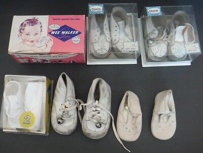 Vtg Lot 6 Pairs White Baby Shoes Wee Walker Baby Deer Edwards Soft Sole Leather