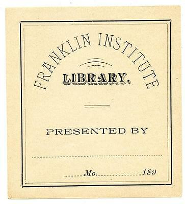 Franklin Institute Library 1890s Antique Bookplate Engraving Etching Unused