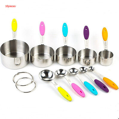 High Quality Stainless Steel Measuring Cups and Spoons Set 10 Piece Kitchen Tool