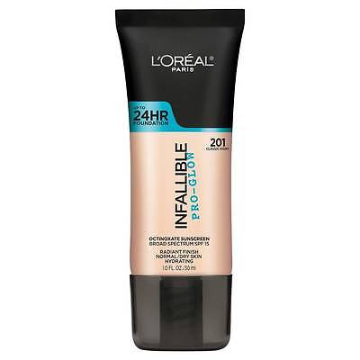 LOREAL Infallible Pro Glow Foundation Classic Ivory 201 NEW 24hr normal dry skin