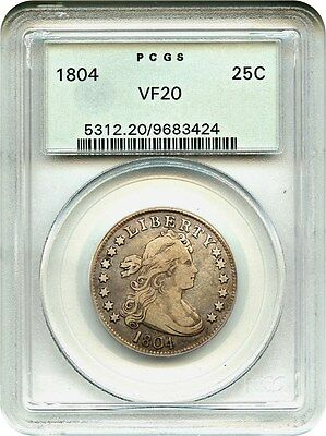 1804 25c PCGS VF20 (OGH) Key Date Early Draped Bust Quarter - Bust Quarter
