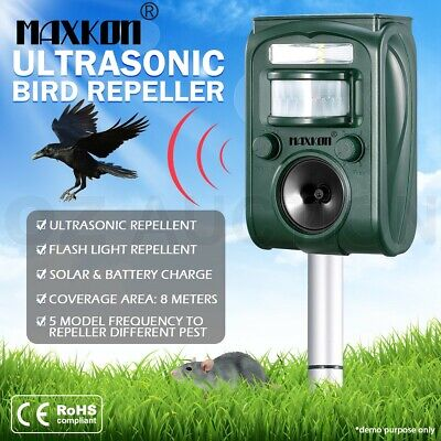 Ultrasonic Bird Animal Repellent Solar Powered Pest Repeller with LED Indicator