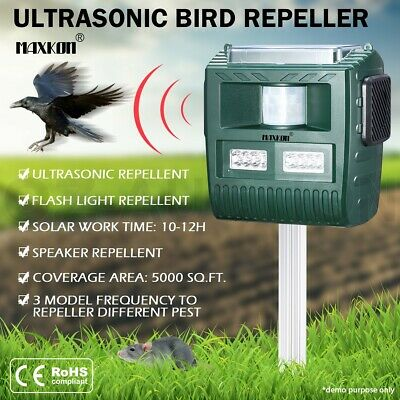Ultrasonic Bird Animal Repeller Repellent with Loudspeaker Alarm Solar Powered