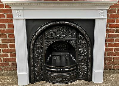 Victorian Style Arched Cast Iron Fireplace & Solid Wooden Painted Surround