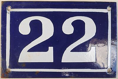Old blue French house number 22 door gate plate plaque enamel metal sign c1950