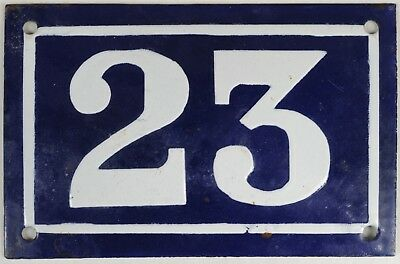 Old blue French house number 23 door gate plate plaque enamel metal sign c1950