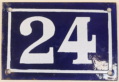 Old blue French house number 24 door gate plate plaque enamel metal sign c1950