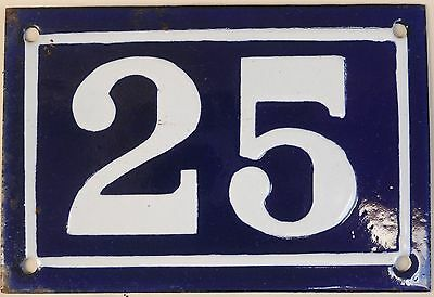 Old blue French house number 25 door gate plate plaque enamel metal sign c1950