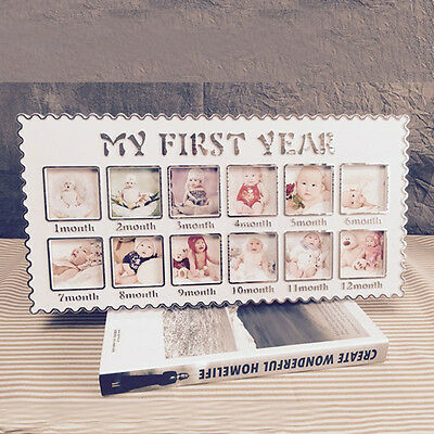 Baby Infants First Year 12 Picture Photo Frame Rahmen Keepsake Home Decor Gift