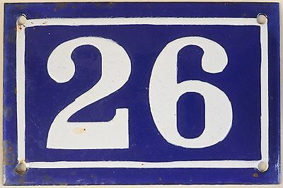 Old blue French house number 26 door gate plate plaque enamel metal sign c1950